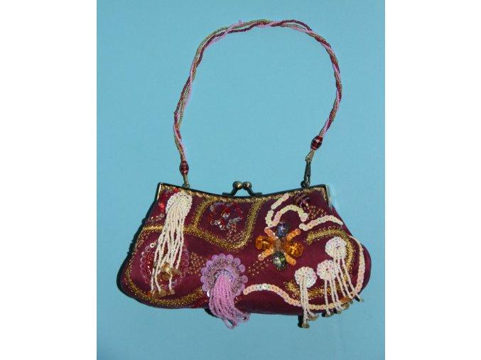 IN'S dámská večerní kabelka fialová s výšivkou a korálky různých barev