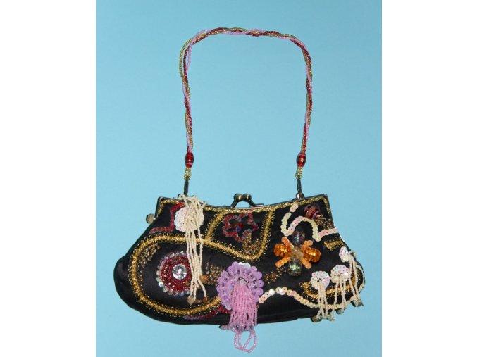 IN'S dámská večerní kabelka černá s výšivkou a korálkami různých barev