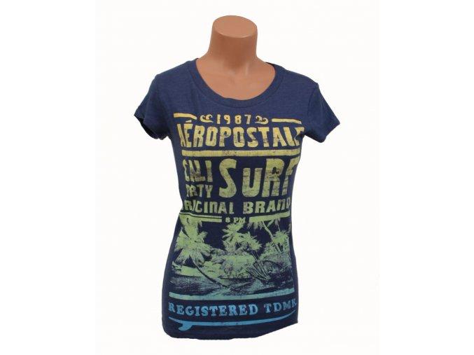 Aéropostale dámské tričko tmavě modré - pláž a palmy