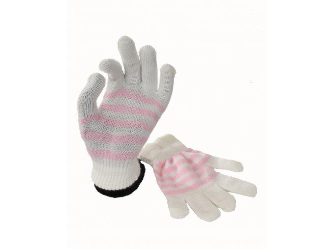 FADED GLORY dětské rukavice bílé s růžovými proužky