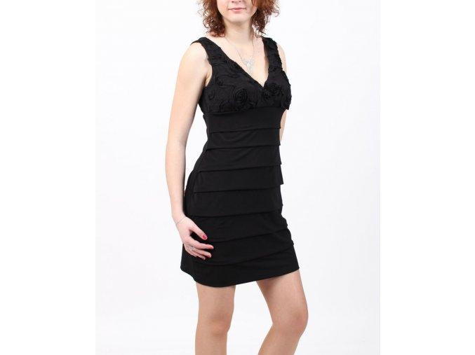 EN FOCUS STUDIO dámské společenské šaty černé s černými květinami