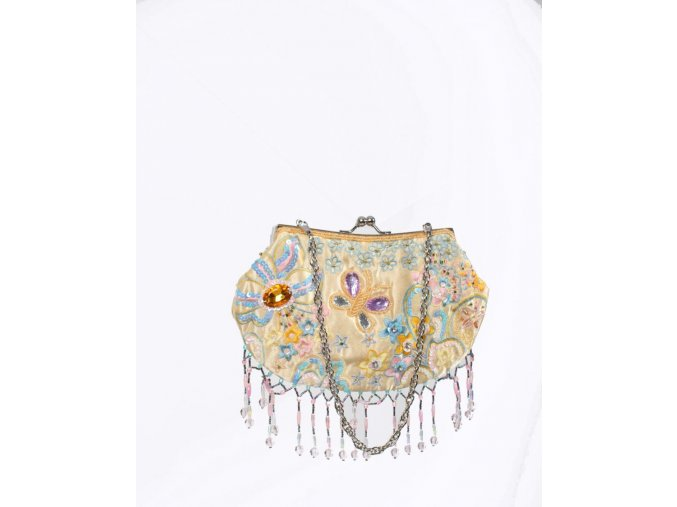 IN'S dámská kabelka žlutá lesklá s barevnou výšivkou a korálkami
