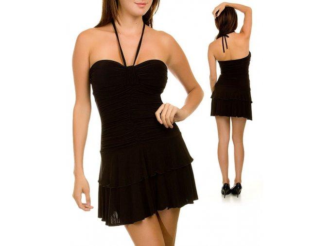 NINA PIU USA dámské šaty černé se zavázáním kolem krku