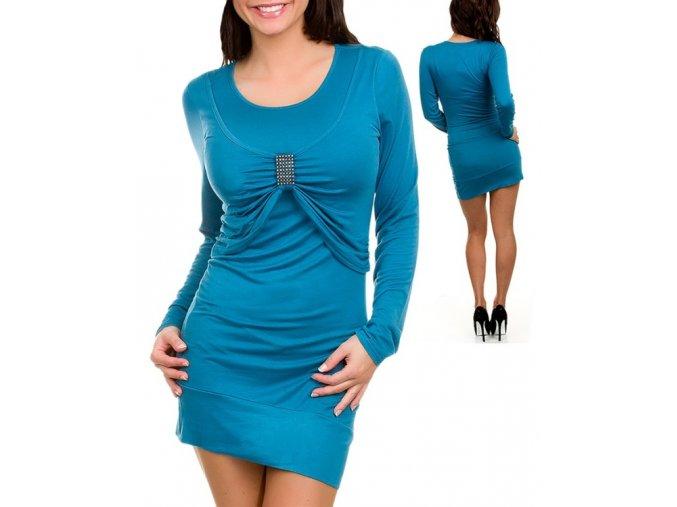 EVERY DAY dámské šaty modré se sponou