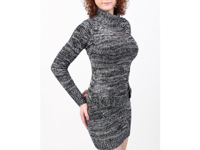 derek heart dámské pletené šaty černobílé