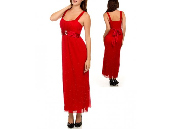 NINA PIU USA dámské šaty červené se třpytkami