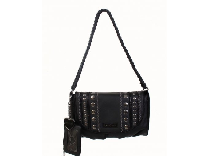 bebe dámská kabelka černá s klíčenkou a přívěškem na klíče