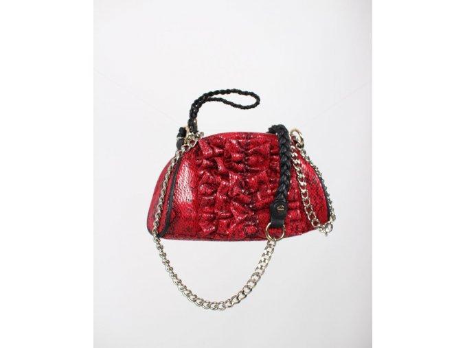 bebe dámská kabelka červená lesklá s černým jemným vzorem