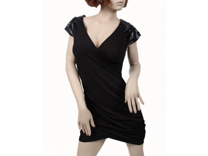 DERÉON dámské šaty černé s koženkou