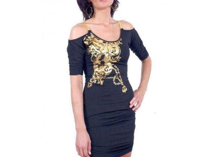 DERÉON dámské šaty černé - zlatý ornament a ramínka