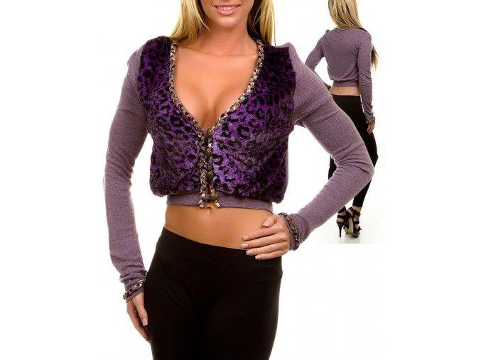 Chi Chi USA dámský svetřík/kabátek fialový leopardí