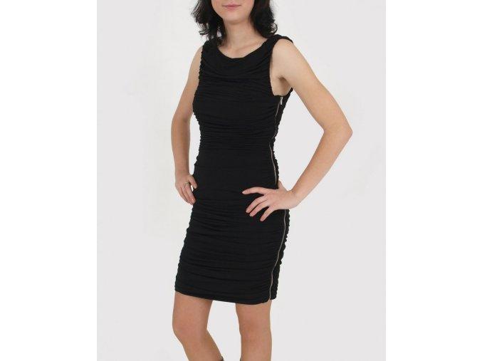 Calvin Klein dámské společenské černé nařasené šaty se zipem