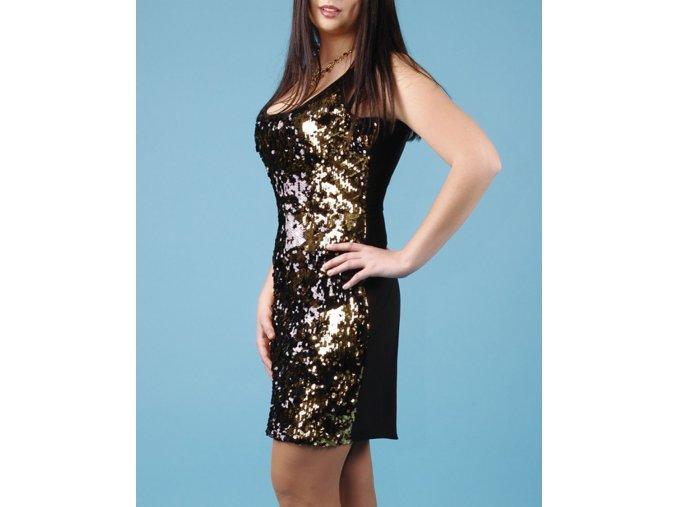 Calvin Klein dámské černé šaty se zlatými a černými flitry