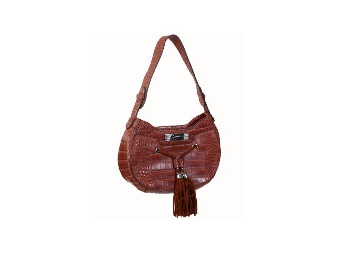 GUESS dámská kabelka koňaková s imitací krokodýlí kůže