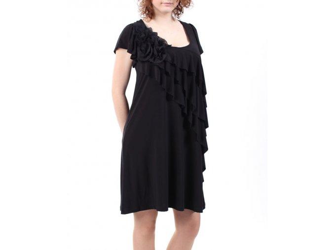 NIC&DOM dámské šaty černé s volány a květinami