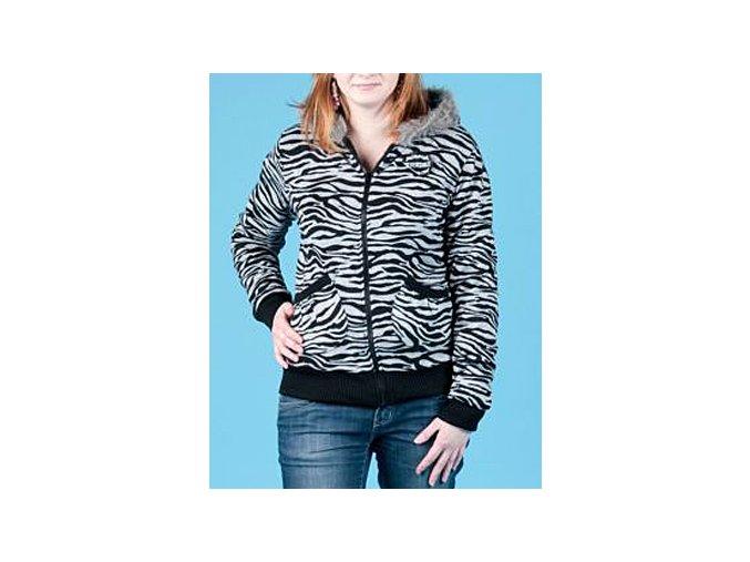 Spoiled dámská černošedá bunda se vzorem zebra