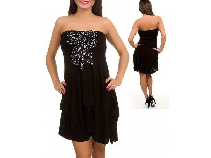 RUNES dámské letní šaty černé s mašlí