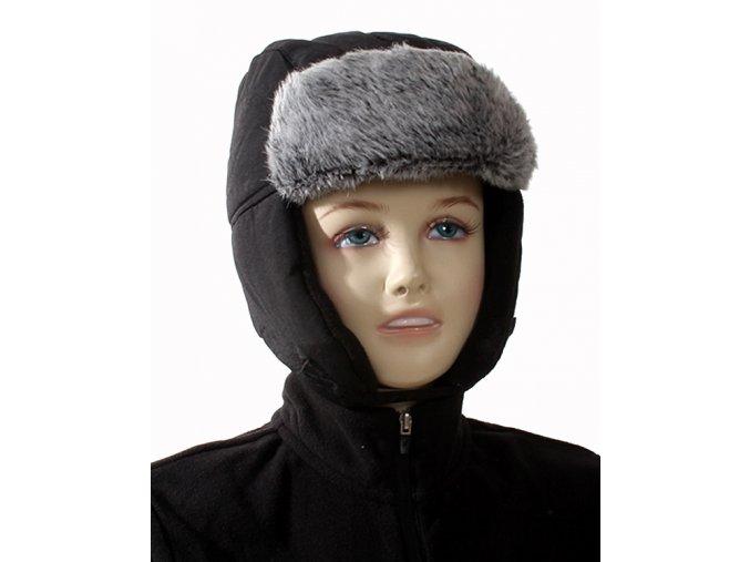 FADED GLORY dětská čepice černá s šedou kožešinou