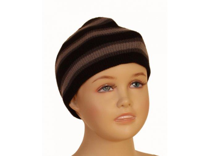 FADED GLORY dětská čepice černá s šedými proužky