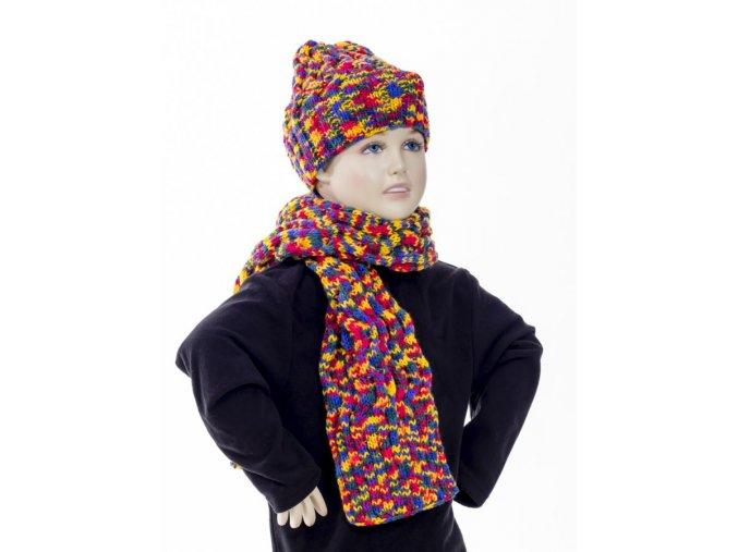 GLORY dětský/dívčí pletený set multibarevný - čepice, šála - ruční výroba