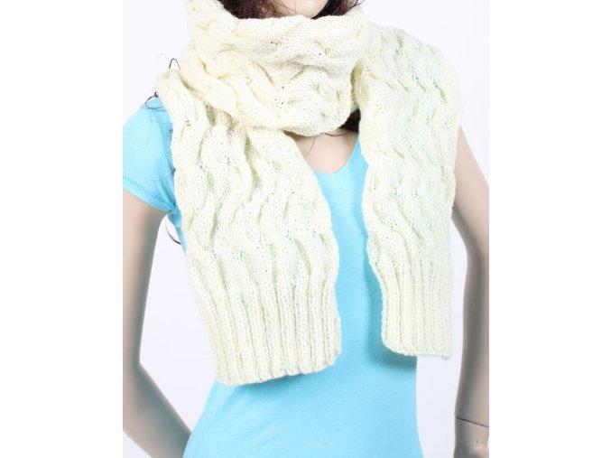 GLORY dámská šála pletená smetanová - ruční výroba