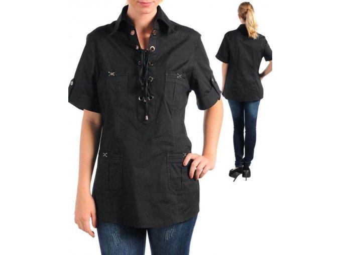 CHECK IT OUT PLUS dámská košilová halenka černá