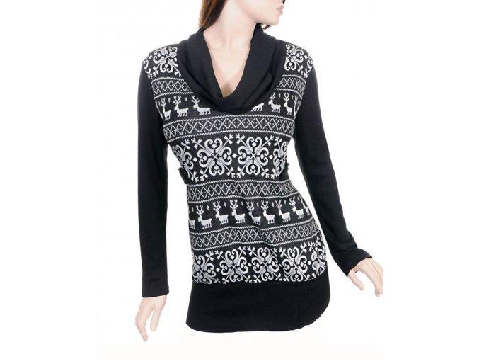 JANETTE PLUS U.S.A. dámský svetr s rolákem - zimní vzor se soby
