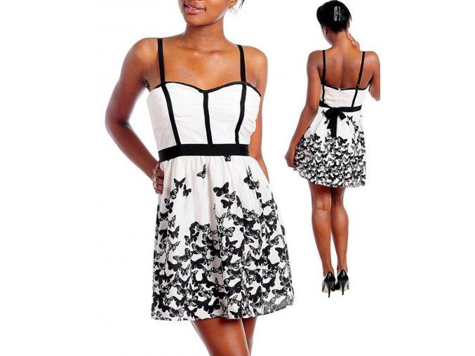 KUDU dámské šaty bílé s motýlky