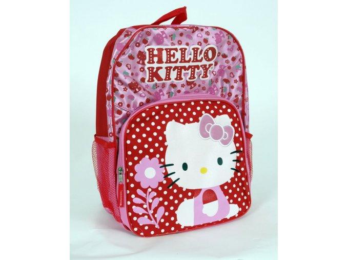 HELLO KITTY dětský/dívčí batoh růžový a červený s kočičkou a nápisem
