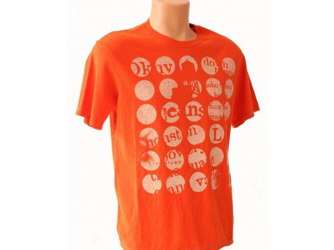 DKNY pánské tričko oranžové s nápisy