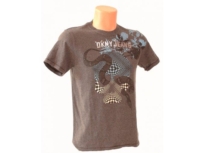 DKNY pánské tričko tmavě šedé s nápisem a ornamentem