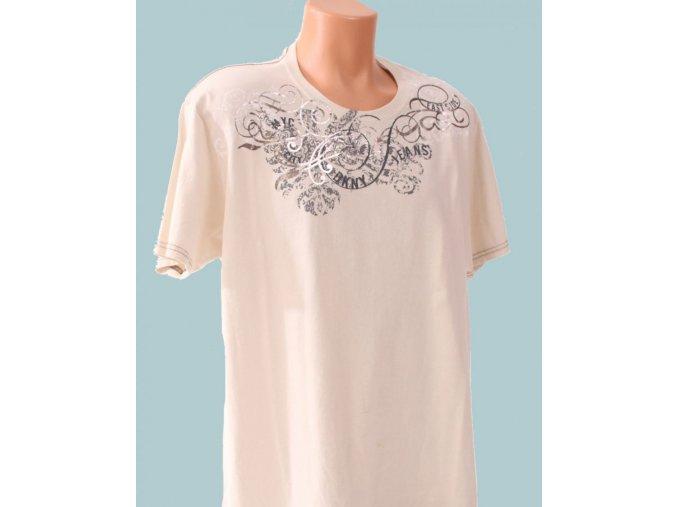 DKNY pánské tričko béžové s nápisem a ornamentem