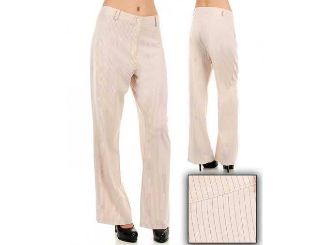 Tomorrow A F/S dámské kalhoty béžové proužkované