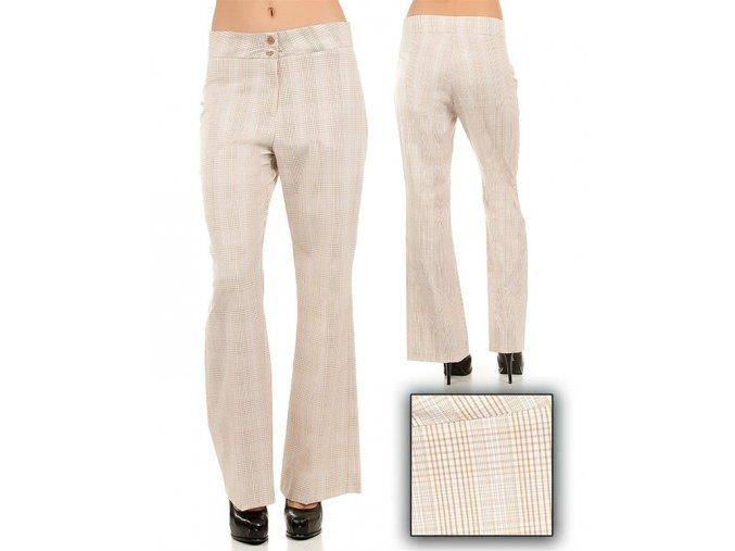 Tomorrow A F/S dámské kalhoty kárové bílobéžové