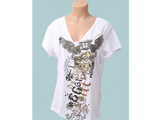 Rocawear dámske tričko bílé s tribal vzorem