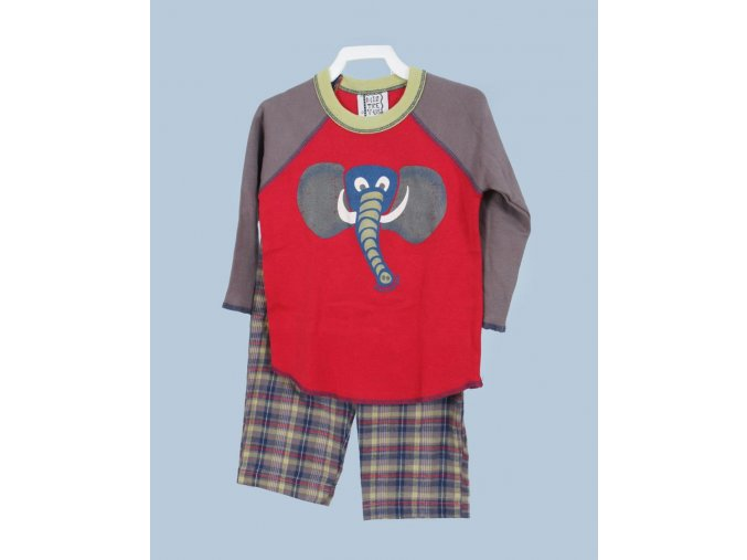 MIS TEE V-US dětská souprava, tričko s dlouhým rukávem, obrázek slona, kalhoty kostkované