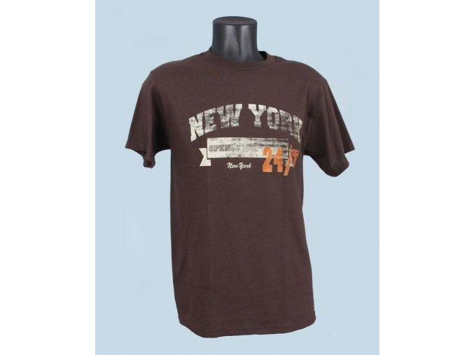 FRUIT OF THE LOOM pánské tričko tmavě hnědé