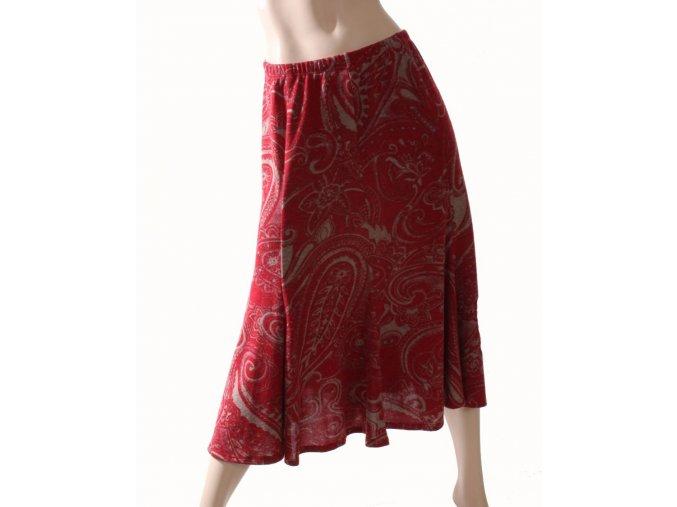 AB dámská sukně červená s šedým vzorem