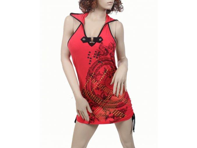 SOUTH POLE dámské šaty červené s kapucí