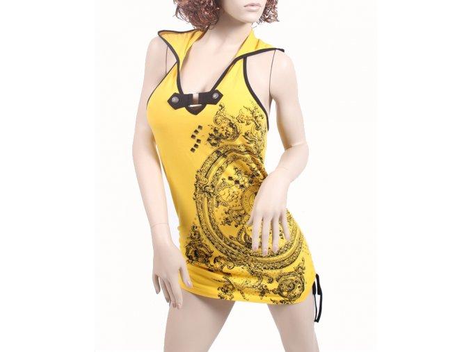 SOUTH POLE dámské šaty žluté s kapucí