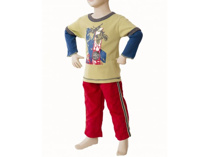 MIS TEE V-US dětská souprava, tričko s dlouhým rukávem s obrázkem motorkáře, kalhoty