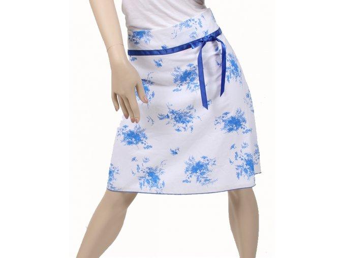 BACK STAGE dámská sukně bílá s modrým potiskem
