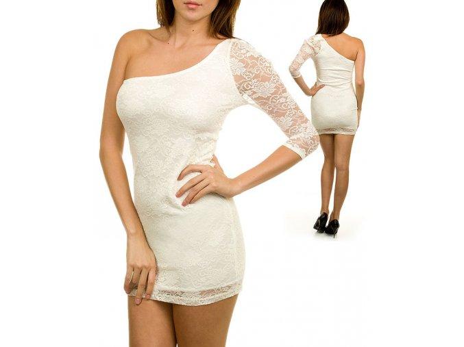 TRIPLE CHERRY dámské šaty krajkové bílé