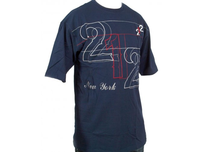 VICTORIOUS pánské tričko tmavě modré s bílou a červenou výšivkou