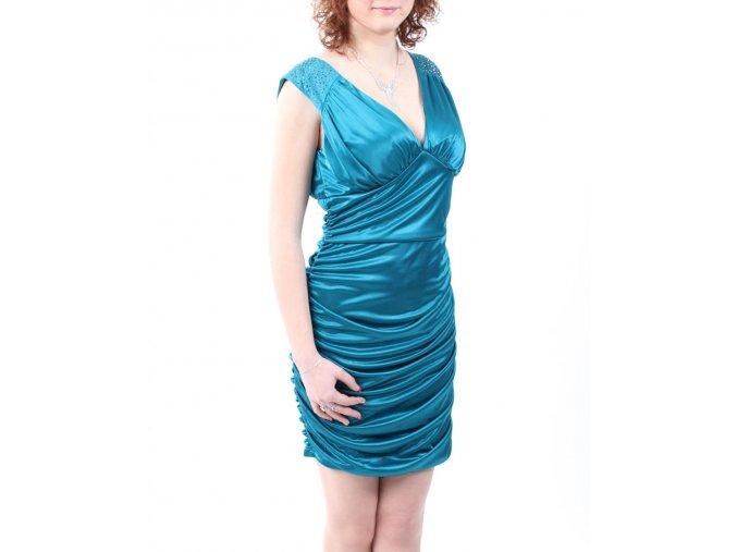 Pompous GIRLY dámské společenské šaty zelenomodré