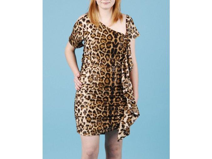 MARYSOL dámské šaty se vzorem hnědý leopard