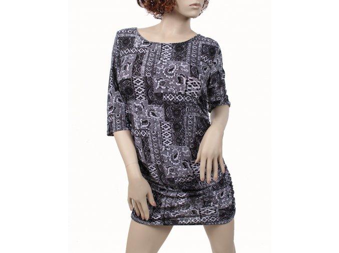 J&D Fashion dámské šaty černobílé se vzorem