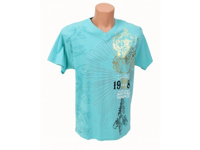MECCA USA pánské tričko tyrkysově modré s tribal vzorem