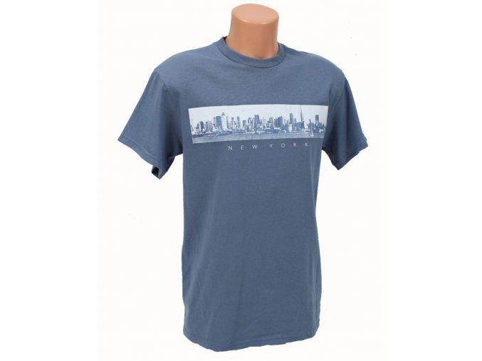 DELTA APPAREL pánské tričko modré s NY