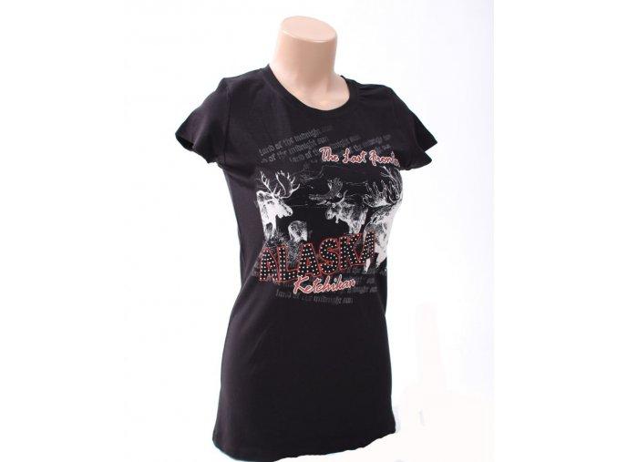 Noble Wear dámské tričko ALASKA černé s obrázkem sobů